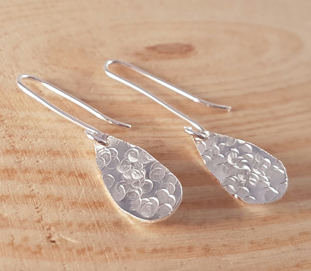 Sterling Silver Hammered Teardrop Drop Dangle Earrings