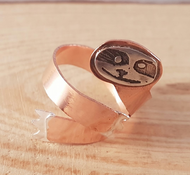 Sterling Silver and Copper Etched Adjustable Sloth Ring
