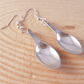 Silver Plated Upcycled Sugar Tong Spoon Drop Dangle Earrings SPE041715