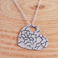 Sterling Silver Etched Mandala Heart Necklace