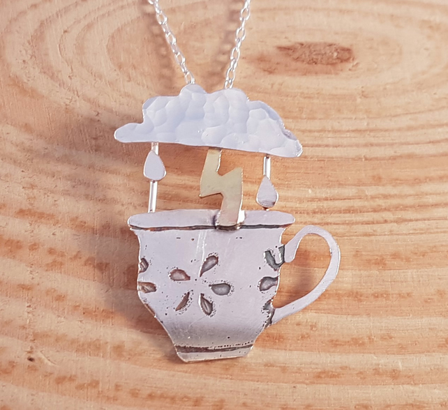 Sterling Silver and Brass Storm In A Teacup Necklace