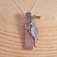 Sterling Silver and Copper Etched Woodpecker Necklace Pendant