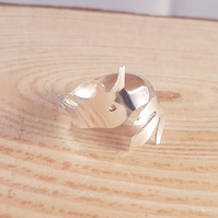 Sterling Silver Unicorn Cross Over Adjustable Ring