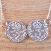 Sterling Silver Double Threepence Necklace Pendant