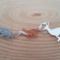 Sterling Silver and Copper Heritage Animals Necklace Pendant