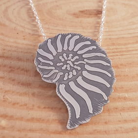 Sterling Silver Etched Ammonite Necklace