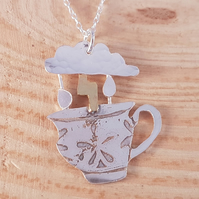 Sterling Silver and Brass Etched Storm In A Teacup Necklace