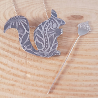 Sterling Silver Etched Three in One Squirrel and Acorn Necklace and Brooch