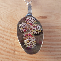 Upcycled Silver Plated Spoon Necklace with Chocolate Jazzles in Resin SPM071703
