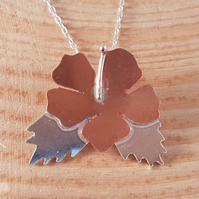 Sterling Silver and Copper Open Flower Necklace