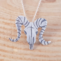 Sterling Silver Etched Ram Skull Necklace