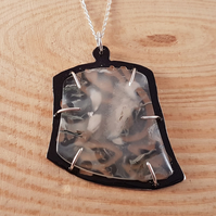 Sterling Silver and Agate Slice Black Necklace
