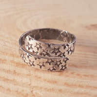 Sterling Silver Star Stamped Cross Over Adjustable Ring