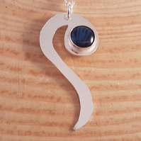 Sterling Silver Serpentine Necklace with Blue Paua Shell Cabochon