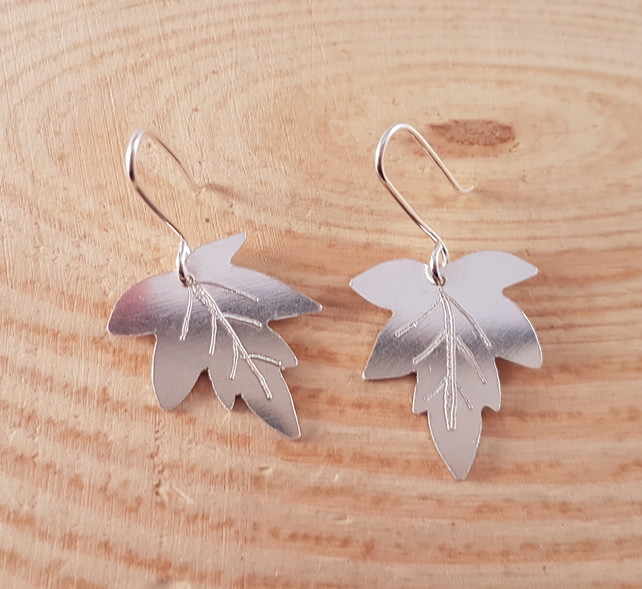 Sterling Silver Oak Leaf Drop Dangle Earrings