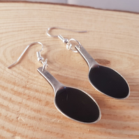 Silver Plated Upcycled Sugar Tong Black Spoon Drop Dangle Earrings SPE071715