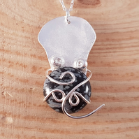 Sterling Sterling Octopus Necklace with Snowflake Obsidian Gemstone Cabochon