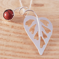 Sterling Silver Heart Leaf Necklace with Brecciated Jasper Gemstone Cabochon