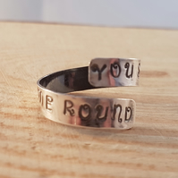 Sterling Silver Stamped 'You Spin Me Round' Cross Over Adjustable Ring