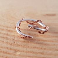 Sterling Silver and Copper Spiral Rope Twist Cross Over Adjustable Ring