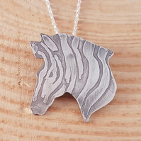 Sterling Silver Etched Zebra Head Necklace