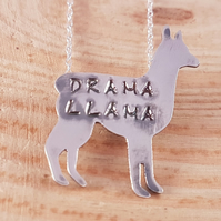 Sterling Silver Stamped 'Drama Llama' Llama Necklace
