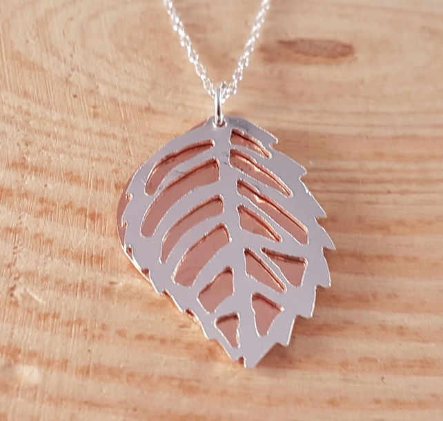 Sterling Silver and Copper Pierced Leaf Necklace