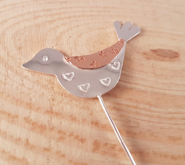 Hand Made Sterling Silver and Copper Heart and Stars Bird Brooch Pin