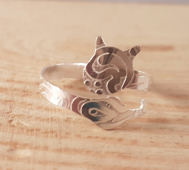 Sterling Silver Etched Zentangle Cat Cross Over Adjustable Ring