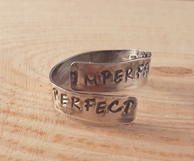 Sterling Silver Stamped 'Imperfectly Perfect' Cross Over Adjustable Ring