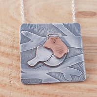 Sterling Silver and Copper Robin Scene Necklace