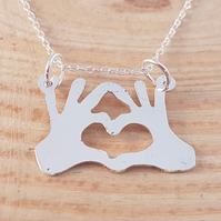 Sterling Silver Heart Fingers Necklace