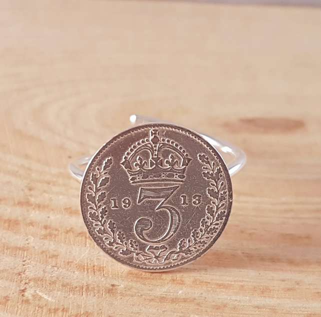 Sterling Silver 1913 Threepence Adjustable Ring