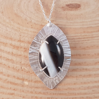 Sterling Silver Hammered Black Agate Necklace