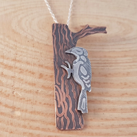 Sterling Silver and Copper Etched Woodpecker and Tree Necklace
