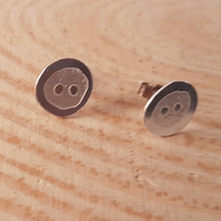 Sterling silver Etched Button Stud Earrings