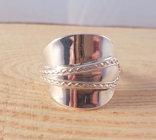 Sterling Silver Upcycled Zig Zag Spoon Wrap Ring