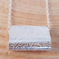 Sterling Silver Etched Fold Necklace