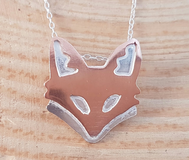 Sterling Silver and Copper Fox Head Necklace