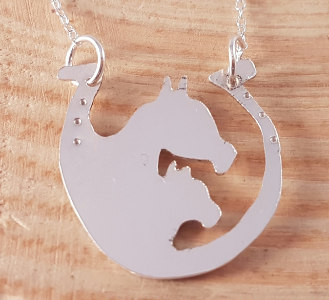 Sterling Silver Horse Shoe Necklace with Horse and Foal