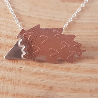 Sterling Silver and Copper Etched Hedgehog Necklace
