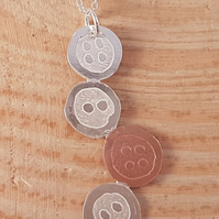 Sterling Silver and Copper Etched Button Necklace