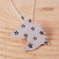 Sterling Silver Star Stamped Unicorn Necklace