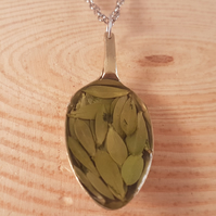 Upcycled Silver Plated Spoon Necklace with Leaves SPN101704