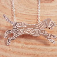 Sterling Silver Etched Running Dog Necklace