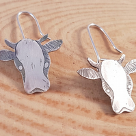 Sterling Silver Etched Cow Drop Dangle Earrings