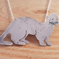 Sterling Silver Etched Ferret Necklace