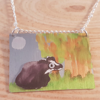 Anodised Aluminium Badger at Night Necklace AAN031801