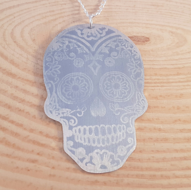 Anodised Aluminium Purple Sugar Skull Necklace AAN031803