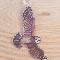 Anodised Aluminium Barn Owl Necklace AAN031804